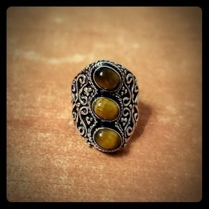 New Tigers Eye 925 Silver Statement Ring. Size 10